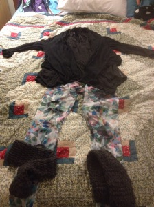 Pretty standard - tunic, tights, legwarmers, cardigan. Add some wool socks and sneakers and I'm out the door.