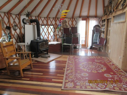 The inside of the yurt!